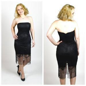 Vintage 1980s Jessica McClintock Lace Fringe Dress